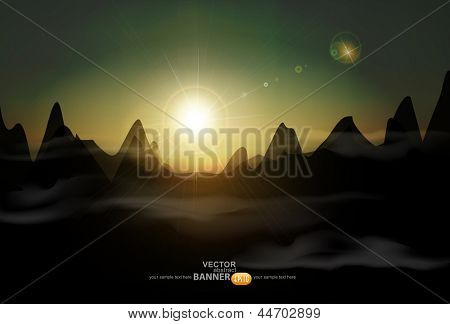 vector landscape with a rising sun and mountains