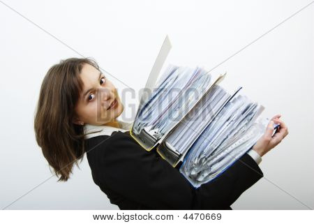 Business Woman Overloaded With Heavy Files