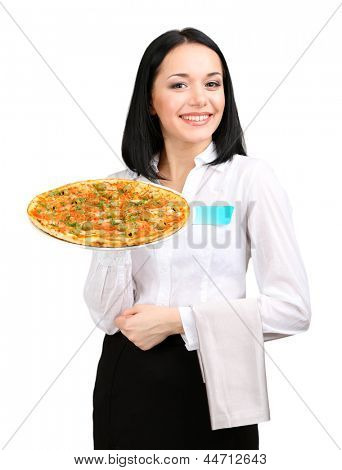 Beautiful girl waiter with pizza isolated on white