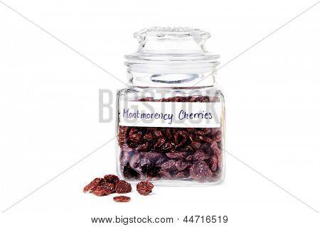 Jar with dried Montmorency cherries
