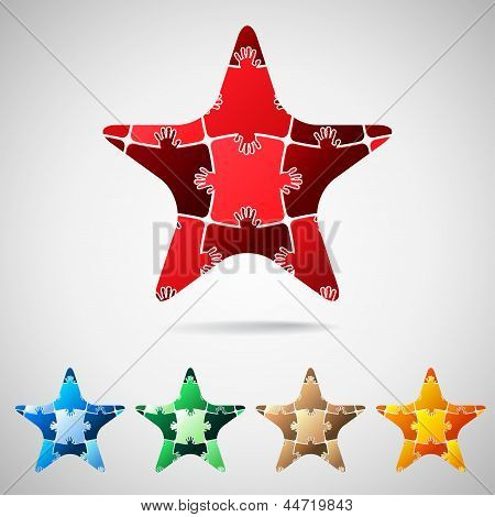 Star from puzzle pieces