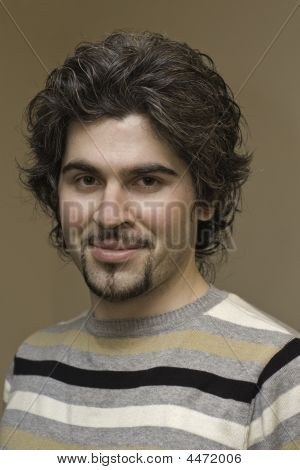 Young Curly Handsome Man Portrait
