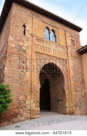 Moorish Puerta Del Vino In Alhambra, Granada, Spain