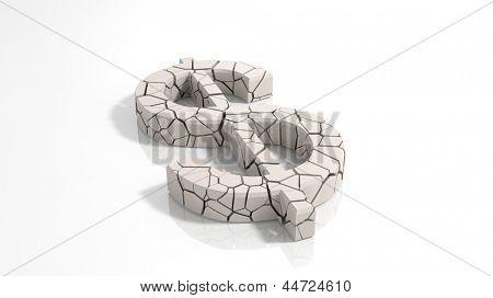 Crashed dollar symbol broken into tiny pieces
