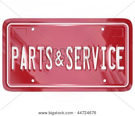 A blue license plate with the words Parts and Service to advertise a collision body shop or garage doing repair work on cars, automobiles and other vehicles in need of damage improvement