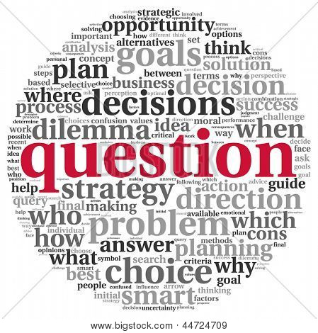 Question and decision making concept in tag cloud on white background