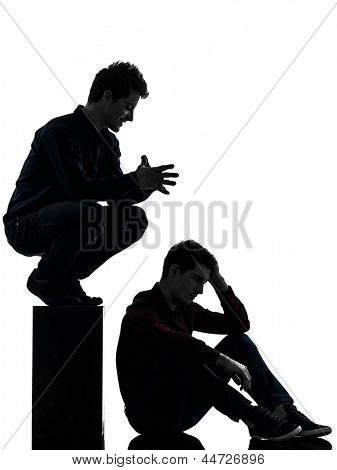 two caucasian young men domination concept shadow  white background