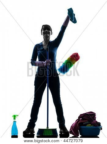 one caucasian woman maid cleaning products  in silhouette studio isolated on white background