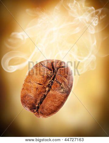 Flying coffee bean in smoke