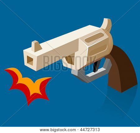 Shooting revolver Bam. Vector Illustration
