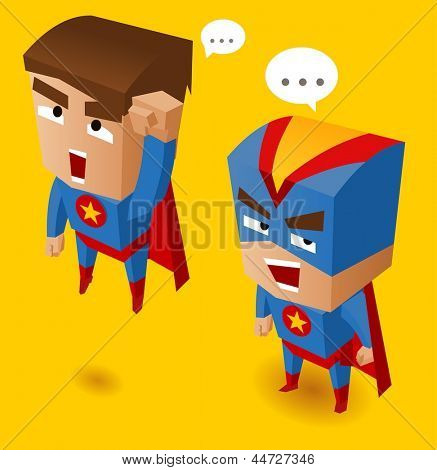 Two Blue superheroes. Vector Illustration