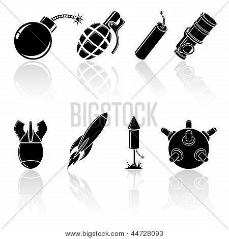 Ícones pretos explosivos