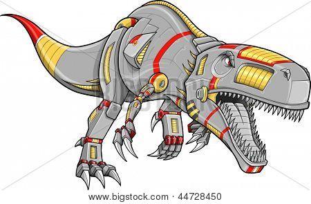 Robô Cyborg Tyrannosaurus Rex dinossauro Vector ilustração