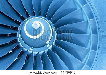 Titan Blades Of Jet Plane Engine, Blue Light