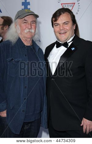 LOS ANGELES - APR 13:  David Crosby, Jack Black arrives at the Light Up The Blues Concert Benefitting Autism Speaks at the Club Nokia on April 13, 2013 in Los Angeles, CA