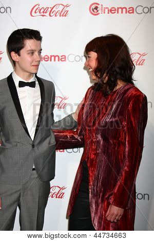 LAS VEGAS - APR 18:  Asa Butterfield, Jacqueline Farr in the CinemaCon Big Scrren Achievement Awards  press room at the Caesars Palace on April 18, 2013 in Las Vegas, NV