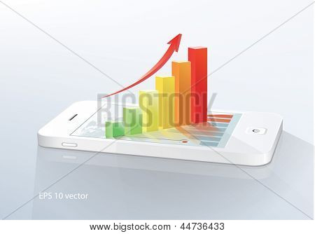 Business  concept: touchscreen smartphone with stock market application and  bar chart. Vector illustration.