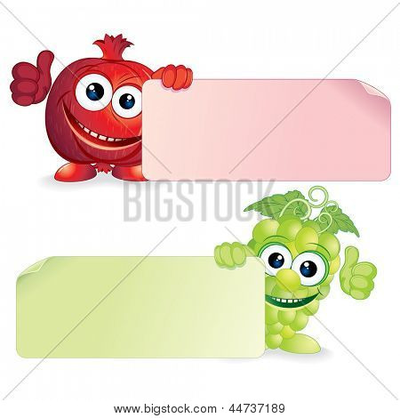 Juicy Pomegranate and Fresh Grapes. Funny Fruits with Blank Sign. Vector Cartoon Illustration