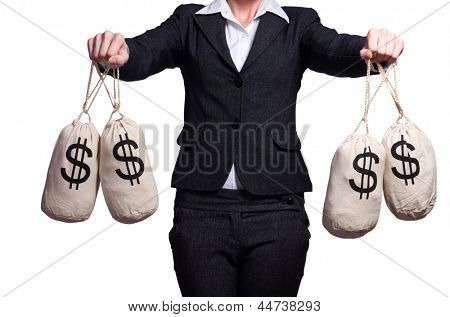 Woman with sacks of money on white