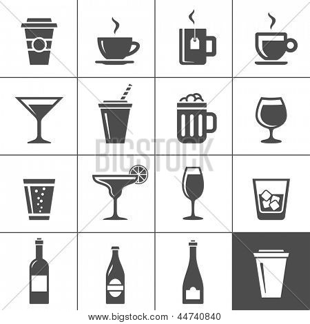 Drinks and beverages icon set. Simplus series
