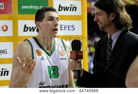 BARCELONA - APRIL, 9: Dimitris Diamantidis of Panathinaikos interviewed after a Euroleague match against FC Barcelona Regal at the Palau Blaugrana on April 9, 2013 in Barcelona, Spain