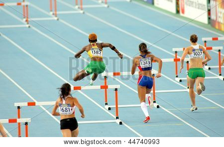 BARCELONA - JULY, 13: Competitors of 400m hurdles women during the 20th World Junior Athletics Championships at the Olympic Stadium on July 13, 2012 in Barcelona, Spain