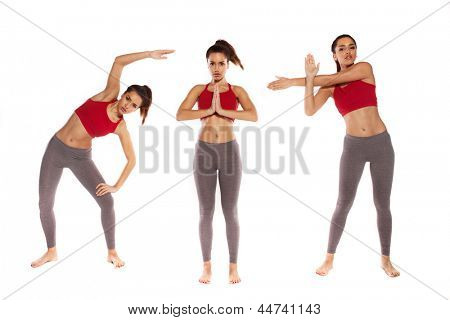 Beautiful shapely young woman performing three different yoga positions on white