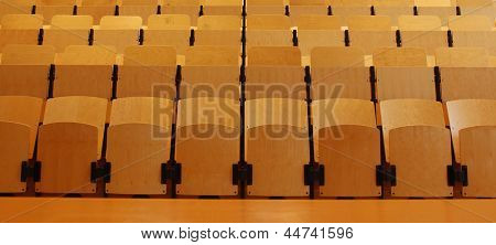 Empty seats in lecture hall