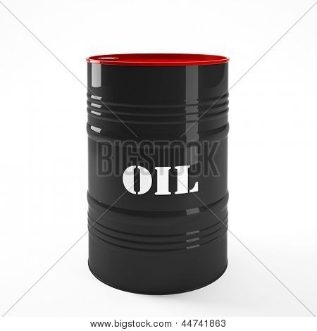 3d image of oil barel on white