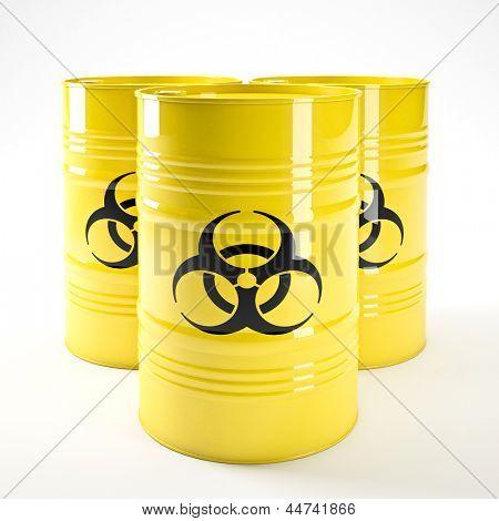 imagem 3D de biohazard amarelo barell