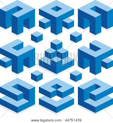 Blue Vector Cubes for Construction Business