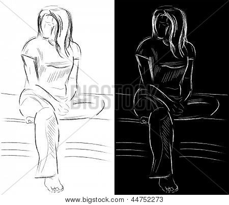 Sketch of sitting young woman