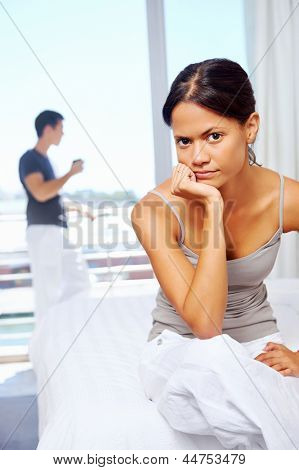 couple have argument at home. upset frustrated and unhappy relationship