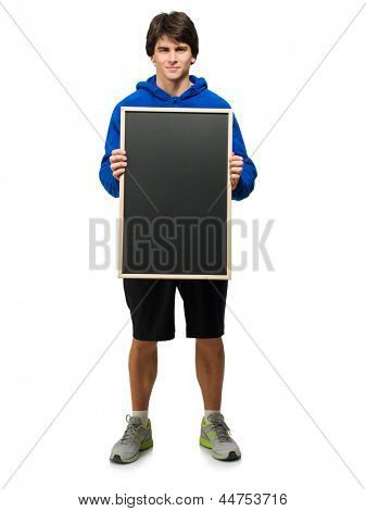 Young Man Holding Black Board Isolated On White Background