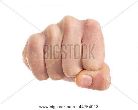 Close-up Of Human Fist Isolated On White Background