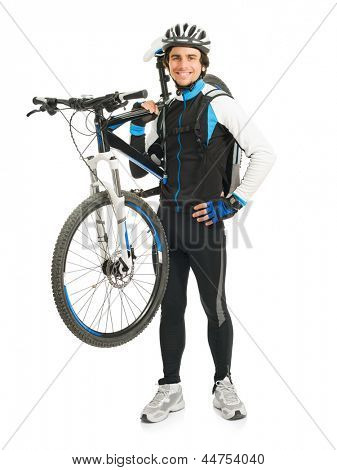 Young Male Cyclist With His Bicycle Isolated On White Background