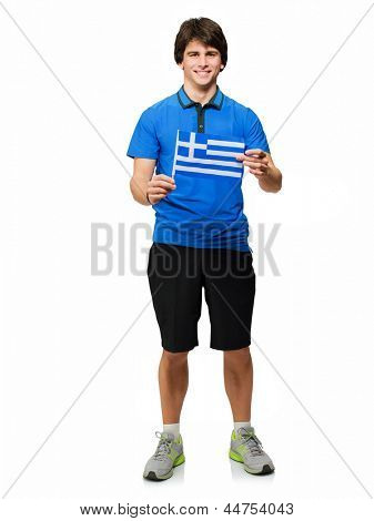 Young Man Holding Italy Flag Isolated On White Background