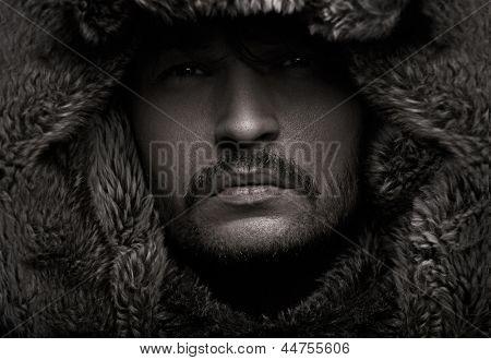 Handsome man in hood