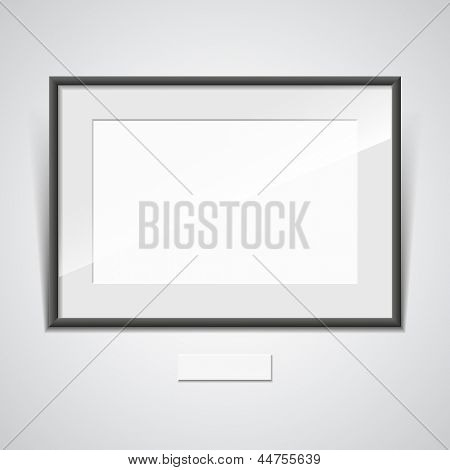 Illustration of a black frame with a white mat on a white wall. vector