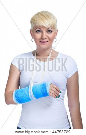 Female patient with broken arm in cast on a white background