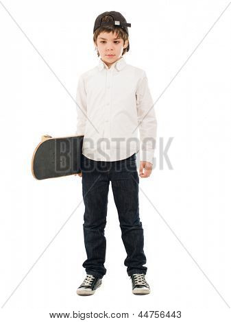 Portrait Of A Boy Holding Skateboard On White Background