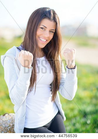 Portrait Of Young Excited Beautiful Woman; Outdoors