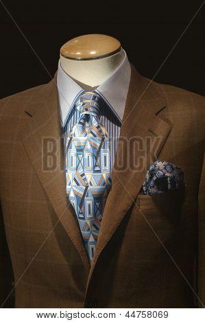 Brown Jacket & Blue Patterned Tie
