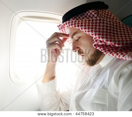 Arabic businessman stressed and depressed