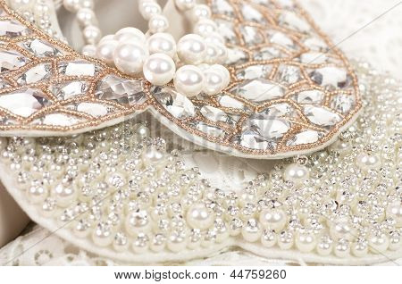 Beautiful textile and fashion jewelry on the background