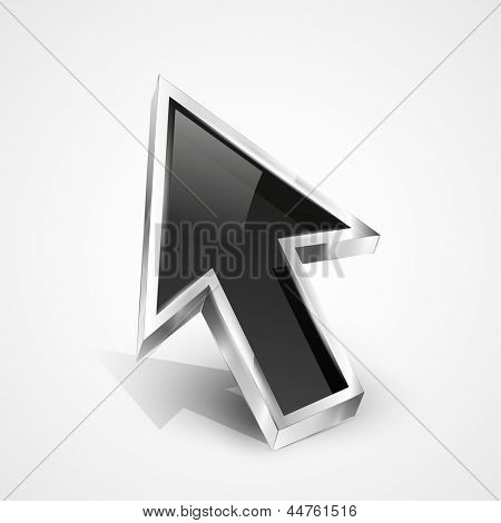 3d vector glossy arrow mouse pointer. EPS10