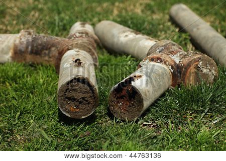 Very Old Corroded and Blocked Steel Household Pipes