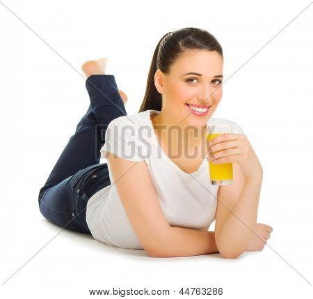 Young girl with juice isolated