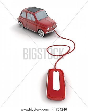 red vintage car connected to a computer mouse