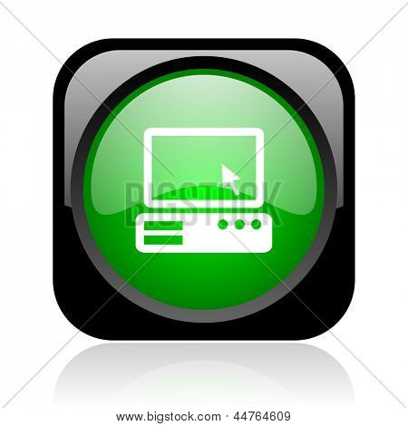 pc black and green square web glossy icon
